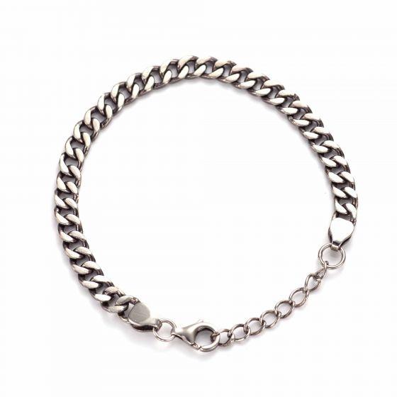 Fashion Vintage Beveled Cuban Curb Bracelet Solid 925 Sterling Silver Link Chain