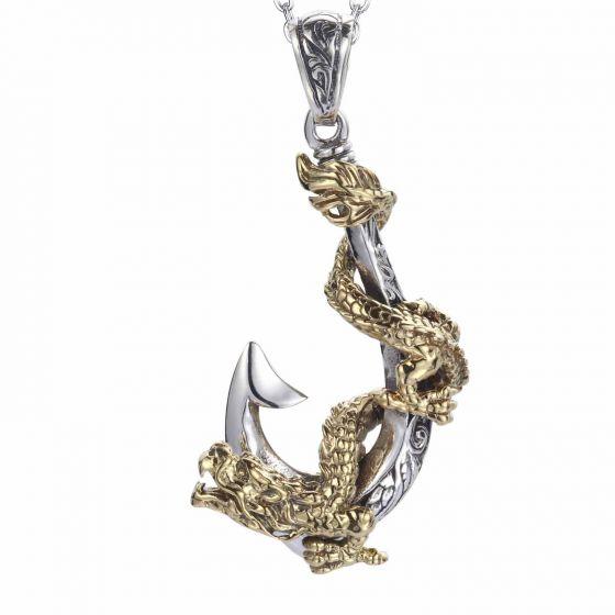 Golden Dragon Twining Around Pirate Hook Men's Solid 925 Sterling Sliver Pedant