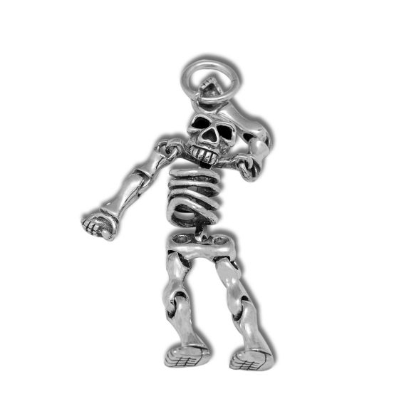 NEW Vintage Thai Solid 925 Sterling Silver Skeleton Skull Pendant Men