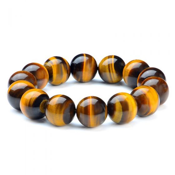 Simple Natural Yellow A Tiger Eye Bead 925 Sterling Silver Women Mens Bracelet
