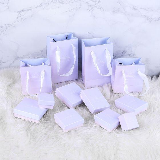 Fashion Gradient Pink Purple Jewelry GIft Box Shopping Bag