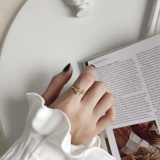 Elegant Rose Flower 925 Sterling Silver Adjustable Ring