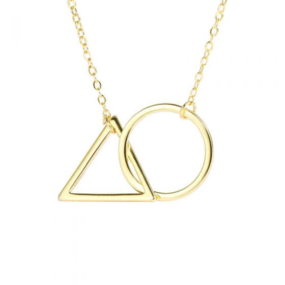 Simple Geometric Round Triangle Linked 925 Sterling Silver Necklace