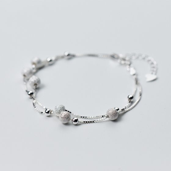 Fashion Double Layer Silver Bead 925 Sterling Silver Stackable Bracelet