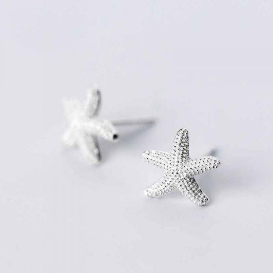 Cute Starfish Marine Organism 925 Sterling Silver Stud Earrings