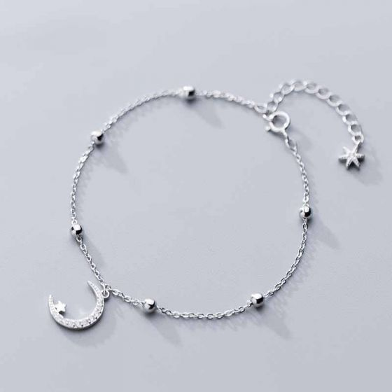 Casual Crescent Moon Star Beads 925 Sterling Silver Bracelet/Anklet