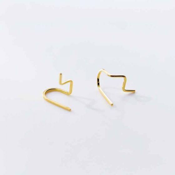 Irregular Wave Lines 925 Sterling Silver Stud Earrings