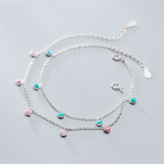 Hearts Pendant Honey Sweet 925 Sterling Silver Bracelet