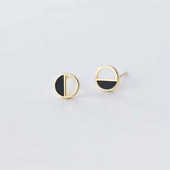 Party Geometry Hollow Semicircle 925 Sterling Silver Stud Earrings