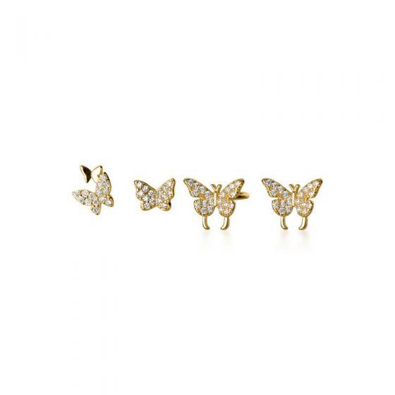 Mini CZ Butterfly 925 Sterling Silver Earrings