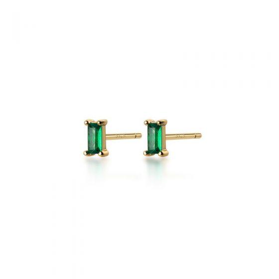 Geometry Green Baguette CZ 925 Sterling Silver Stud Earrings