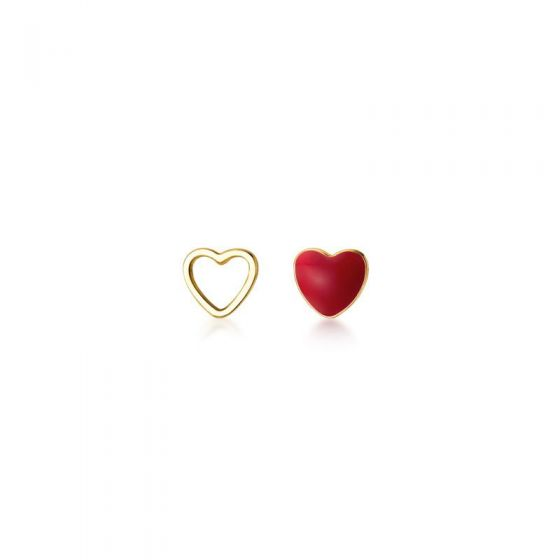 Asymmetry Red Heart Hollow 25 Sterling Silver Stud Gold Plated Earrings