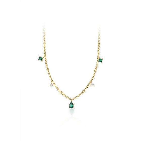 Hot Green CZ Waterdrop 925 Sterling Silver Necklace