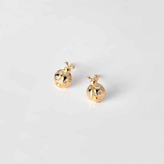 Animal Golden CZ Ladybird 925 Sterling Silver Stud Earrings