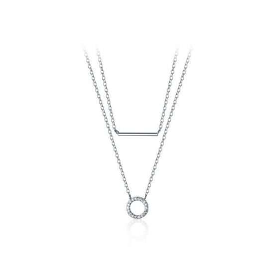 Elegant Double Layer CZ Circle Stick 925 Sterling Silver Necklace