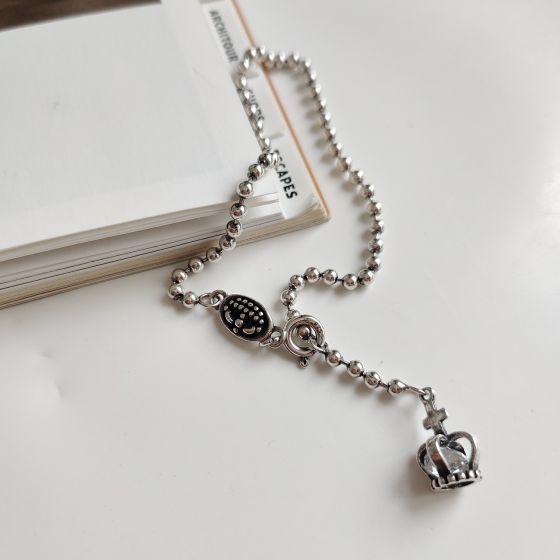 Men's Crown Beads 925 Sterling Silver Bracelet