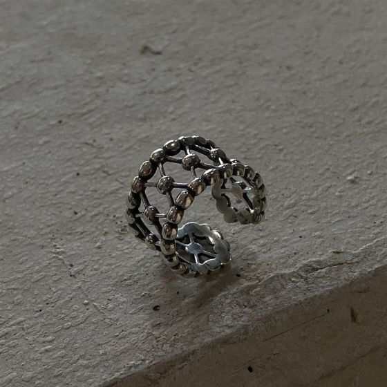 Retro Chic Beads Cross Wide 925 Sterling Silver Adjustable Ring