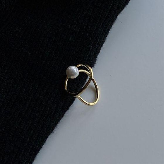 Irregular Circle Shell Pearl 925 Sterling Silver Adjustable Ring