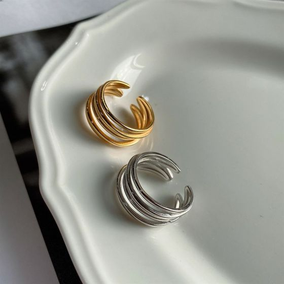 Fashion Multi-Layer Lines 925 Sterling Silver Adjustable Ring