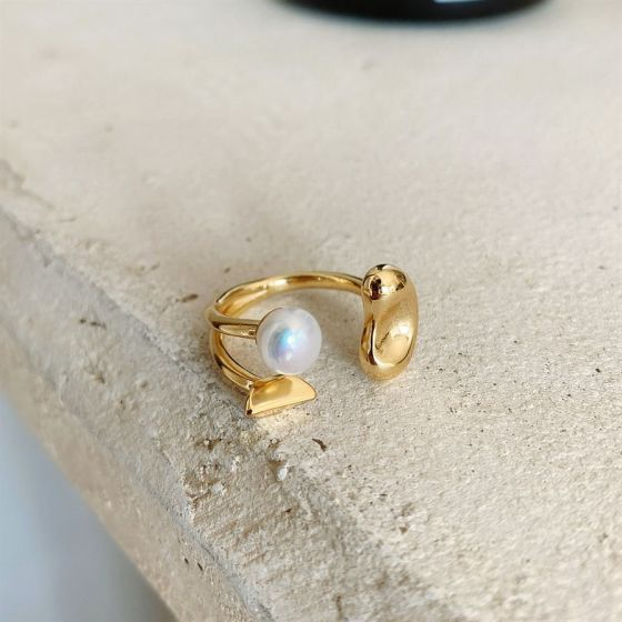 Lady Golden Petal Natural Pearls 925 Sterling Silver Adjustable Ring