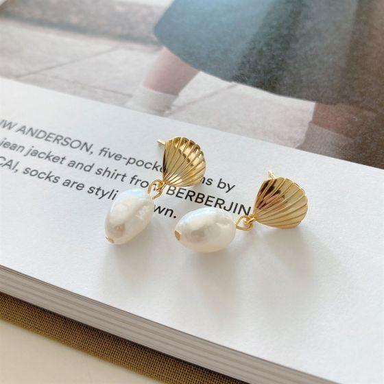 Lady Irregular Natural Pearl Golden Shell 925 Sterling Silver Dangling Earrings