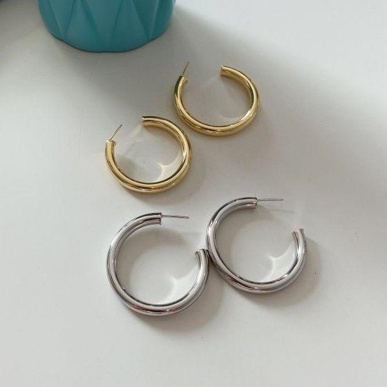 Simple C Shape Circle 925 Sterling Silver Hoop Earrings Single Piece