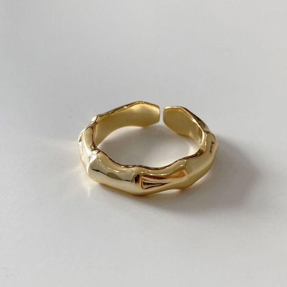 Irregular Bamboo Slub 925 Sterling Silver Adjustable Ring