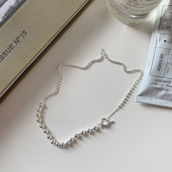 Simple Double Layer Beads 925 Sterling Silver Necklace