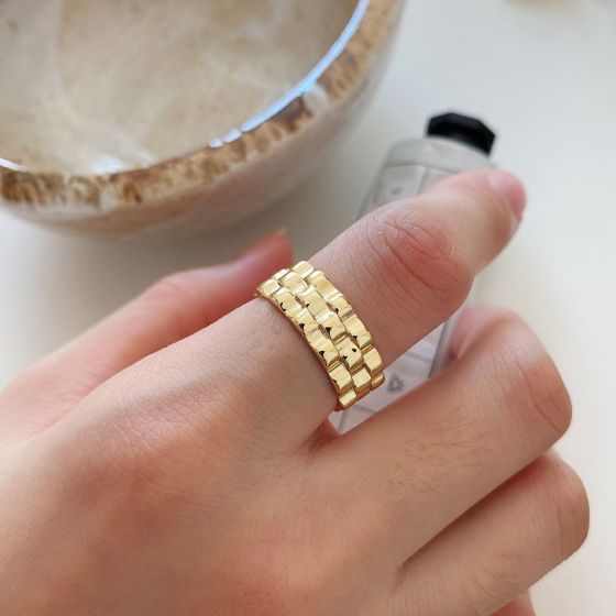 Fashion Watch Chain 925 Sterling Silver Adjustable Ring