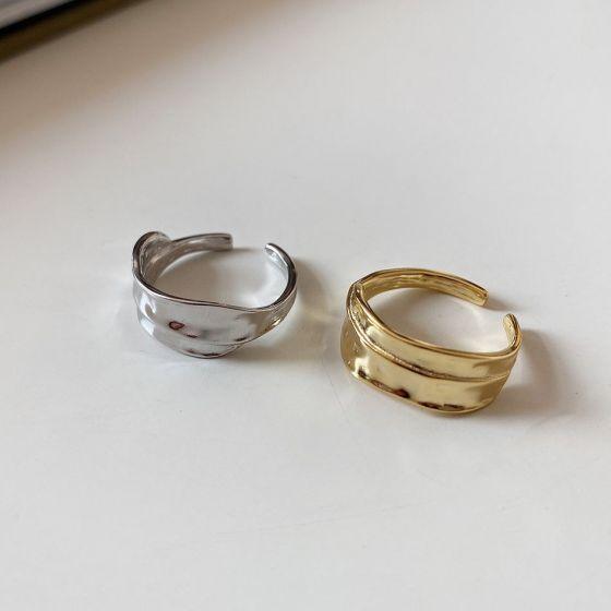 Irregular Leaf 925 Sterling Silver Adjustable Ring