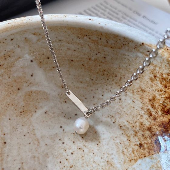 Asymmetry Irregular Natural Pearl 925 Sterling Silver Necklace