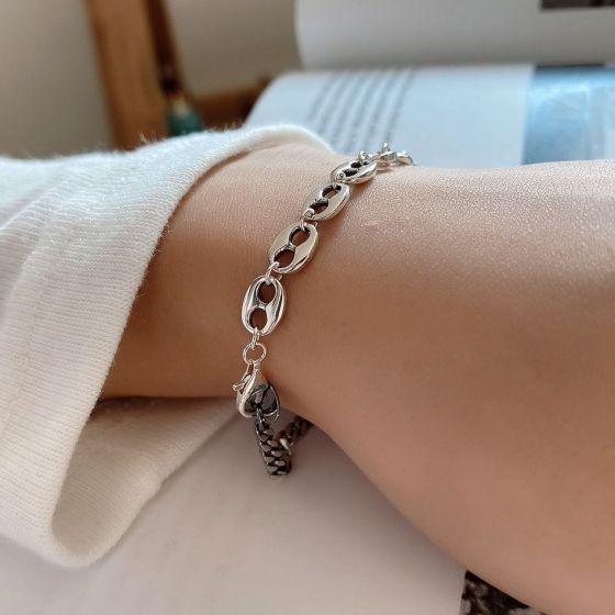 Hot Pig Nose 925 Sterling Silver Chain Bracelet