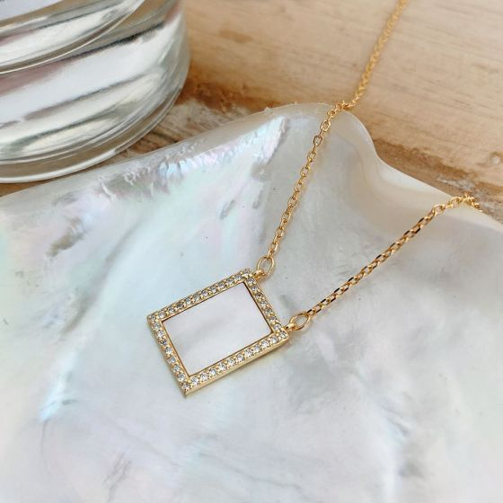 Geometry CZ Rectangle 925 Sterling Silver Necklace