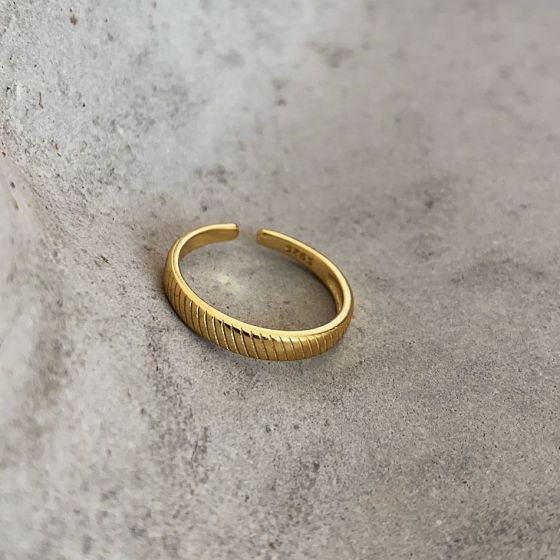 Simple Gold Twill 925 Sterling Silver Adjustable Ring