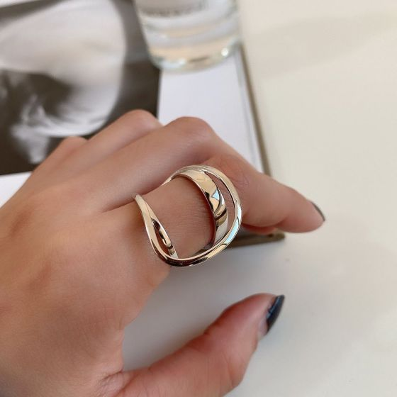 Fashion Irregular Ellipse Double Layer 925 Sterling Silver Adjustable Ring