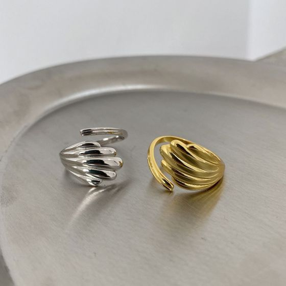 Casual Shell Lines 925 Sterling Silver Adjustable Ring