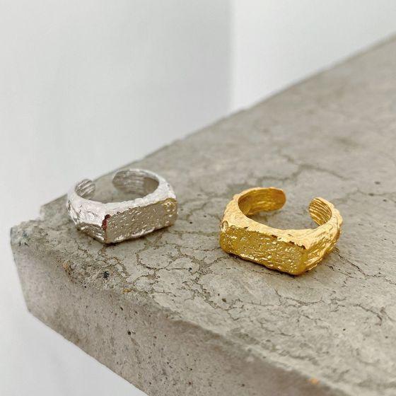 Geometry Irregular 925 Sterling Silver Adjustable Ring