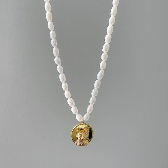 Women Natural Pearl Cat Tag 925 Sterling Silver Necklace