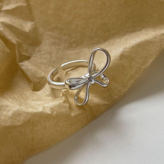 Sweet Bowknot 925 Sterling Silver Adjustable Ring