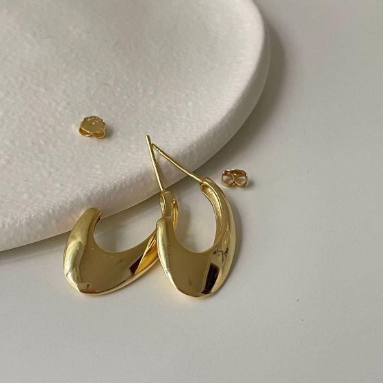 Office Geometry Arc U Shape 925 Sterling Silver Hoop Earrings
