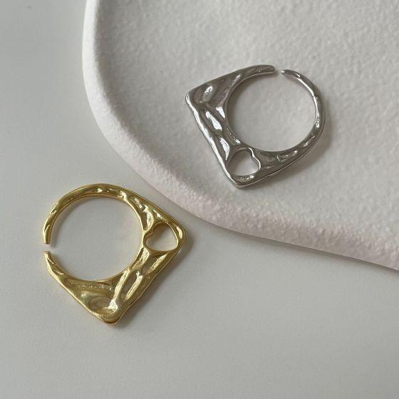 Irregular Hollow Heart 925 Sterling Silver Adjustable Ring
