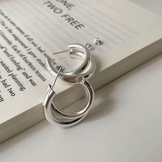 Geometry Double Circles 925 Sterling Silver Hoop Earrings