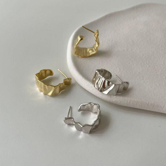 Fashion Irregular Wrinkle 925 Sterling Silver Hoop Earrings