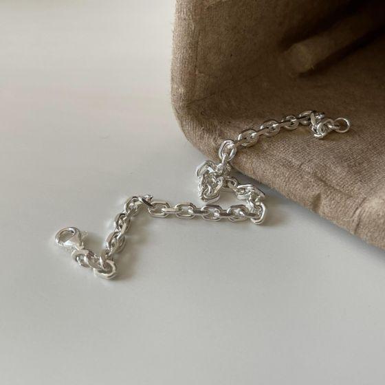 Simple Mini Hollow Cross 925 Sterling Silver Adjustable Bracelet