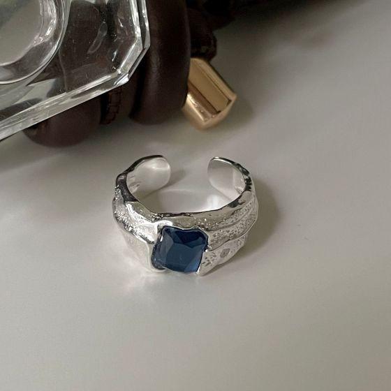Office Blue Radiant CZ Irregular 925 Sterling Silver Adjustable Ring