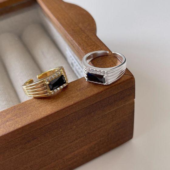 Office Black Baguette CZ Geometry 925 Sterling Silver Adjustable Ring