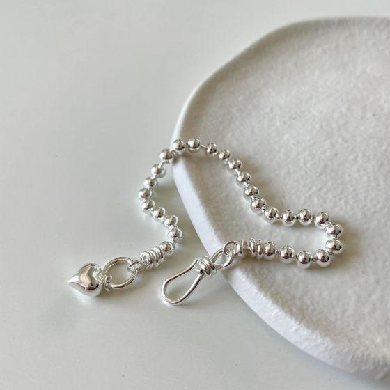Women Bead Heart 925 Sterling Silver Adjustable Bracelet