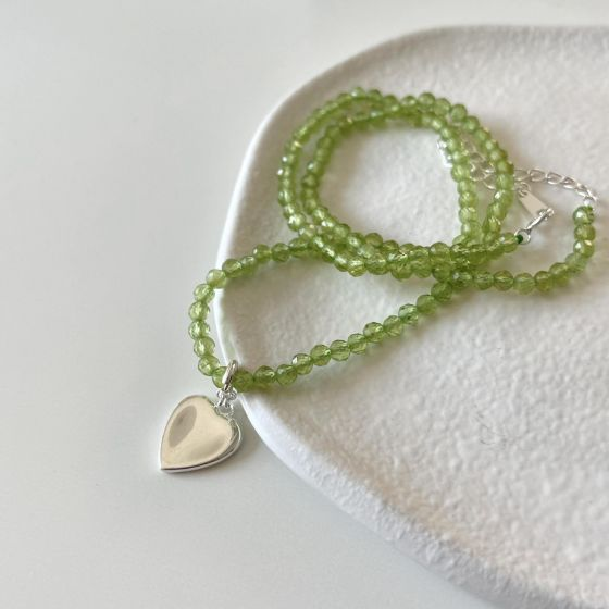 Gift Green Natural Peridot Heart 925 Sterling Silver Necklace