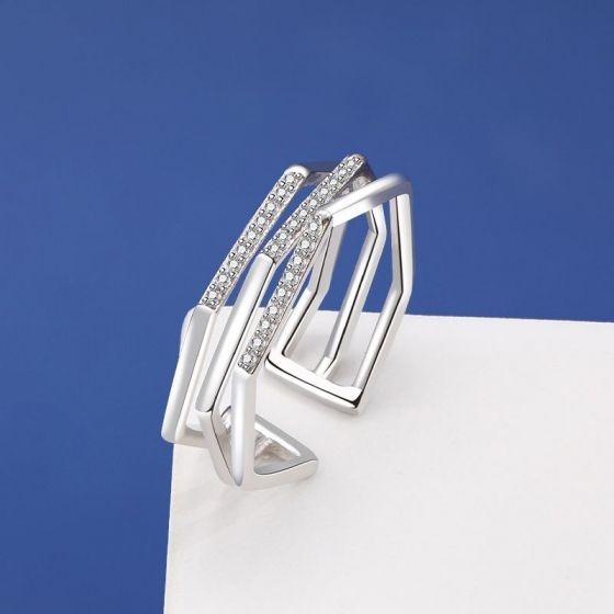 Modern Hollow CZ Twisted 925 Sterling Silver Adjustable Ring