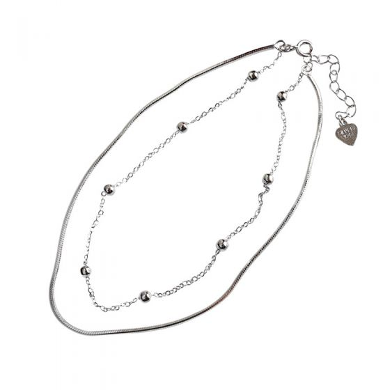 Simple Beads Solid 925 Sterling Silver Adjustable Double Chain Bracelet